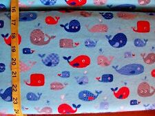 BTY B165 Happy Whales Blue red Grey Flannel Material New