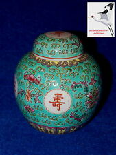 Chinese Ginger Spice Jar Tea Caddy Oriental Jingdezhen Porcelain Turquoise
