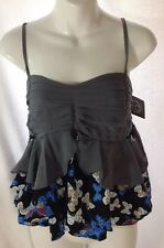 NEW AGN Ruffle Butterfly Shirt L Black White Blue Layered Top Cami Tank Blouse