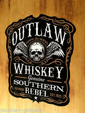 Outlaw Whiskey Rebel Oldschool Sticker Aufkleber Moonshiner USA Skull Vintage