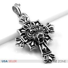 Men Stainless Steel Vintage Gothic 3D Tiger Head on Cross Pendant Cool Punk Q18