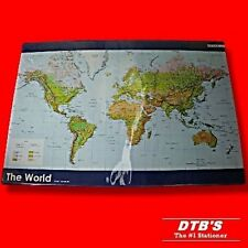 WORLD ATLAS MAP OF THE WORLD DESK MAT DURABLE PVC COVERED BOARD 620 X 430MM