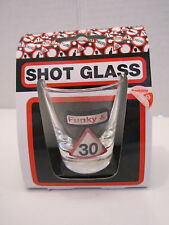 "Set of 4 shot glass for 30th birthday party celebration ""Funky & 30"""