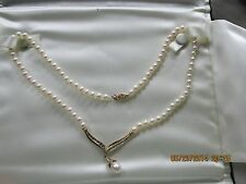 10K Gold Pearl Necklace & 14 Diamonds  Lot's of Gold!!   No Res!   Kay Jewelers