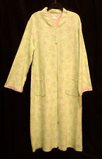 MISS ELAINE LONG SOFT QUILTED GREEN FLORAL ZIP-FRONT ROBE W/POCKETS~L~XL~NEW
