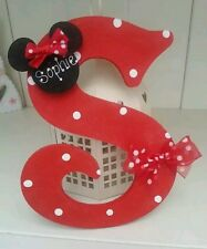 "Disney minnie inspired wooden personalised 6"" wooden letter/name sign bedroom"