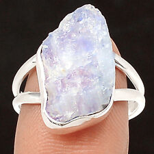 Natural Rainbow Moonstone Rough 925 Sterling Silver Ring Jewelry s.7 SR212944