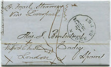 1865 TRANS ATLANTIC FOLDED LETTER. NY   BOSTON    ENGLAND   CADIZ,  SPAIN ta 69