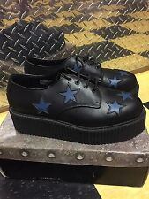 "DEMONIA CREEPER 2"" Platform Goth Punk Rockabilly Red Star Shoes Men's sz 9"