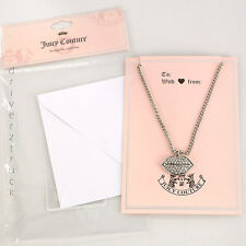 JUICY COUTURE Faux CRYSTAL LIPS Silver Tone PENDANT NECKLACE Blank Greeting Card