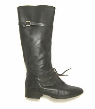 $485 Joie Martha Riding Boots Knee High Lace & Strap in brown leather sz 9 39