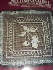 """Vogart Crafts Net Darning Kit CHERRIES Pillow KIT 14"""" x 14"""""""
