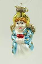 Vintage Antique Glass Painted  Angel Christmas Ornament Holiday Tree Decoration