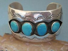 Vintage Navajo Old Pawn Turquoise and Sterling Silver Shadowbox Bracelet