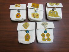 NATIVE AMERICAN BEADED PURSE CANVAS, COTTON LINING AND LEATHER PATCH WORK