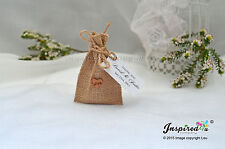 Hessian Mini Favor Bags 25 x Wedding Wooden Love Heart Personalized Tags Bespoke