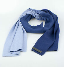 New. ZEGNA SPORT Men's Blue Striped Cashmere Blend Scarf $225