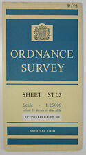 1962 old OS Ordnance Survey 1:25000 First Series Map ST 03 Brendon Hills (E)