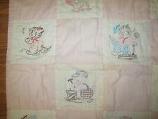 VTG BABY QUILT patchwork and embroidery, kittens pink and white 31 x 42 inches