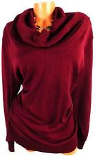 MAURICES MAROON WOMEN'S PLUS SIZE RIBBED COWL NECK RUCHED SIDE SWEATER 4, 4X