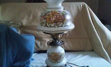 "VINTAGE QUOIZEL INC 1973 HURRICANE TABLE LAMP 22"" TALL HAND PAINTED ROSES"