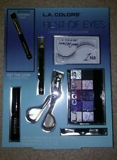 L. A. Colors Best of Eyes 7 Piece Eye Shadow Gift Set Makeup False Lashes +BONUS