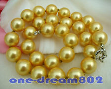 """18""""14mm round golden south sea shell pearl necklace"""