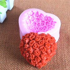 3D Love Heart Rose Flower Silicone Mold Cake Decorating Sugarcraft Cupcake Mould