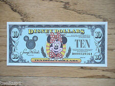 1990 D $10 Disney Dollar Bill Minnie Uncirculated Low 5 Digit # Very Rare New