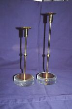Gunnar Ander Pair Ystad Metall Swedish Candle Holders Glass Base MidCentury