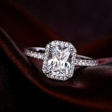 FINE EDH Estate 14k White Gold Emerald Cut Engagement Ring Solitaire Ring 7 size