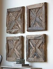 "FOUR 21"" RECLAIMED RUSTIC PINE WOOD WALL PANELS / DOORS / SHUTTERS WALL ART"