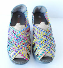 NEW Women's Bernie Mev Hope Multi Color Strappy Wedge Woven Sandals Size 10 40
