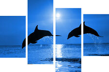 """LARGE BLUE DOLPHINS / SEA CANVAS WALL ART PICTURES SPLIT MULTI 4 PANEL 40"""" X 26"""""""