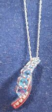 STERLING SILVER 18 INCH CHAIN WITH A BLUE TOPAZ PENDANT