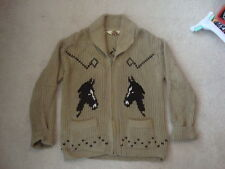 Vintage Horse Farm Riding Hunting Knit Cardigan Sweater jacket M