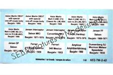 DÉCALQUES MARQUES DE VOITURES 1/43 POUR VITRINES TW-2-43 JU16ID