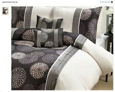 Marsailles black and white floral printed double duvet cover set with faux silk
