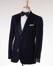 NWT $3595 SARTORIA PARTENOPEA Navy Peak Lapel Wool-Silk Tuxedo Slim 40 R Suit