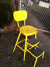 Vtg Mid-cent  rustic  chair Step Stool Kitchen bathroom seat Garden art