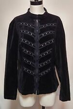 Tripp Steampunk Goth Black Velvet Military Studded Blazer Zip Jacket 2 2X
