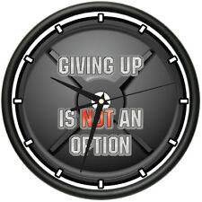 GIVING UP IS NOT AN OPTION Wall Clock gym workout inspiration weights gift