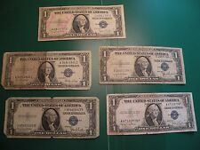 100% Old Antique Rare 5 of 1935 D & E US Silver Certificate $1 Dollar Bill  T8