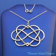 """LARGE INFINITY DOUBLE HEART ETERNAL LOVE 925 Sterling Silver Necklace 16"""" or 18"""""""