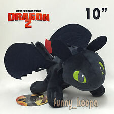 """How to Train Your Dragon 2 Toothless Plush Night FurySoft Toy Teddy Doll 10"""" NWT"""