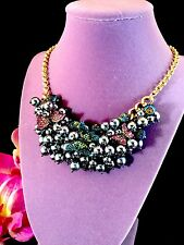NWT BETSEY JOHNSON CHAIN NECKLACE YOU GIVE ME BUTTERFLIES CLUSTER BEAD PENDANT