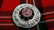 "TC Celtic Fly Plaid Brooch Chrome Finish Pink Stone 3""/Scottish Thistle Brooches"