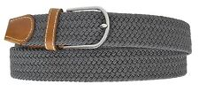 New Mens Leather Braided Elastic Stretch Cross Buckle Casual Golf Belt