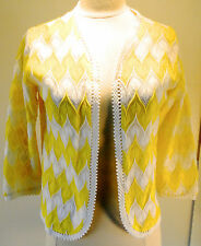 Excellent Vintage Franshow Lemon Yellow White Print Acrylic Cardigan Sweater Med