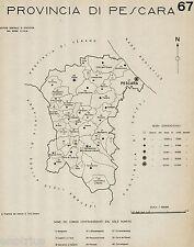 Provincia di Pescara:Tutti i Comuni 1938,Carta Topografica.Anno XVI Era Fascista
